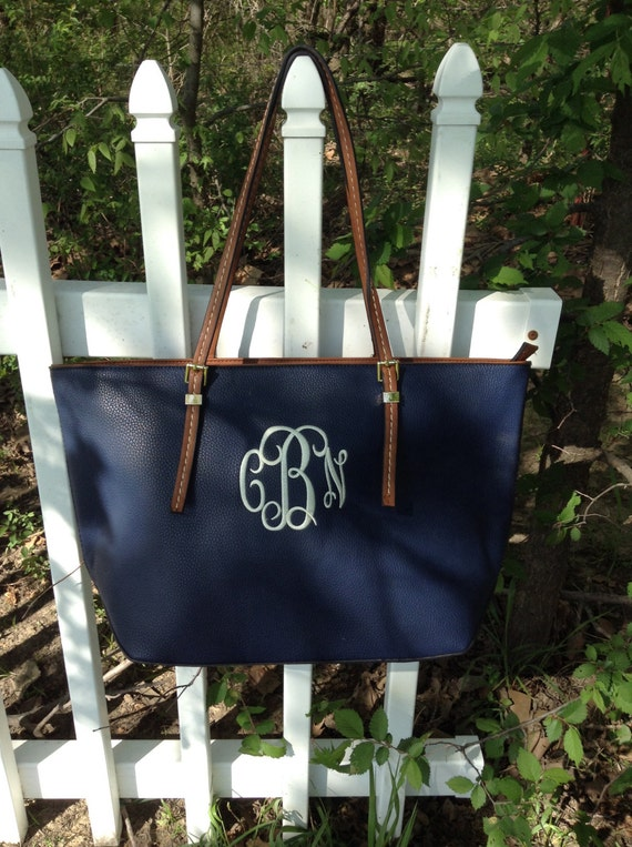 Monogram Purse Bag Tote/ Monogram Navy Pocketbook, Navy  monogram purse/ Classic Black purse/ Designer Inspired Tote/ Faux Leather purse