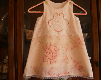 Girl's 3/4T Dress, Girl's 3/4T Jumper, Pillowcase Dress 3/4T, Upcycled Dress 3/4T, Vintage Dress 3/4T
