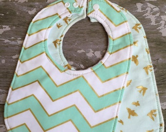 Baby bib 2 pack/ gold and mint chevron/gold and mint birds