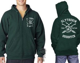 Slyth Quidditch team Captain White print printed on Deep Forest Zipper Hoodie