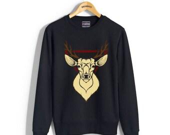 Deer art Dotwork printed on Crew neck Sweatshirt