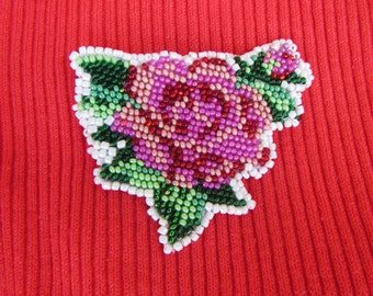 Embroidery brooch. Pink rose, Handmade brooch,  embroidery Brooch Beaded on the leather basis. Pink rose - embroidery beaded Brooch