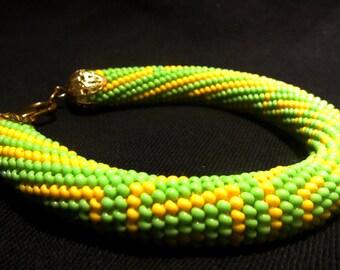 Beadwork bracelet, summer bracelet, Beaded crochet bracelet, Beadwork seads beads, Beaded harness bracelet, summer beads bracelet, green