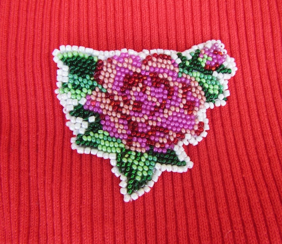Embroidery brooch pink rose handmade
