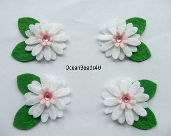 10 Felt White Flower applique, felt flower shape, filz blumen