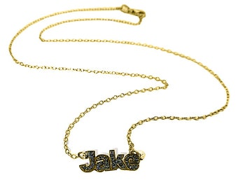 Hand Cut Black Diamond Name Necklace  / 24MM X 8MM / Chain Included