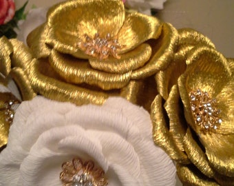 Brooch Crepe Paper Flowers/Golden and White Brooch Bouquet