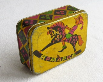 Pinocchio Candy box, Candy tin, Vintage Tin, Metal box, Buratino,  Old Conteiner, Retro Storage Square Tin, Cookie Tin 1959