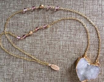 Queen of Hearts - Heart Druzy Necklace