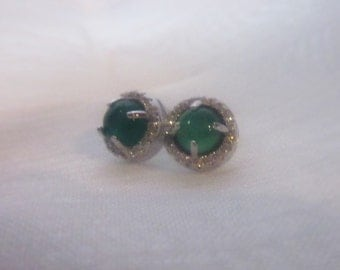 Rounded, Green Agate and Brilliant Crystal Earrings, Sterling Silver