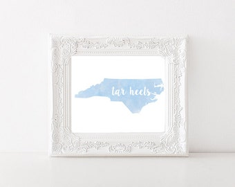 North Carolina Tar Heels Watercolor State Printable (8x10 & 10x8)