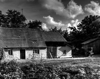 Black & White Farmhouse Germany Original Fine Art Print Full Color Photograpy Wall Decor Professional Print Landscape Photography