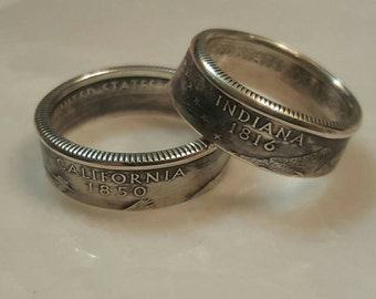 State Quarter Coin Ring, Silver Coin Rings, Coin Ring, Any State