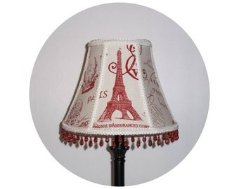 French Stamp - Crimson and Cream fabric - Lamp Shade