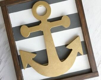 Anchor Framed wood sign // wooden sign // boys room decor // nursery decor // nautical decor // bathroom decor