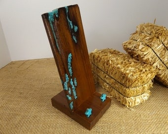 mesquite smart phone stand with turquoise inlay