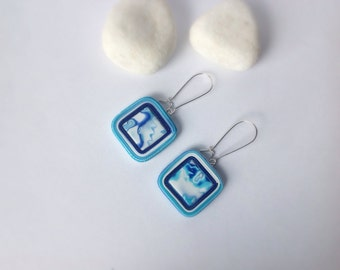 Polymer clay earrings , Modern Earrings , Everyday earrings , Drop earrings , Contemporary designer earrings, Blue Turquoise earrings