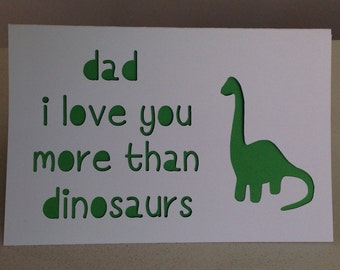 Papercut dinosaur card for fathers day or dad birthday - cutomised and handmade to order