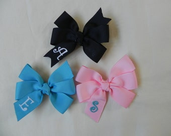 Set of 3 or 5 Small Pinwheel Monogrammed Hair Bows…Personalized 3 inch Bows with Initial...You Choose Colors!