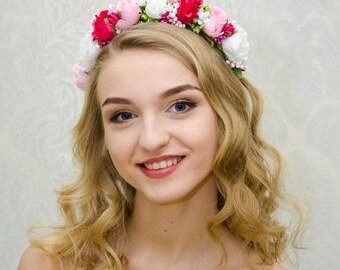 Rose quartz white pink spring flower crown/ Ukrainian headband / photo prop /  rose hairband/ flowergirl hairpiece