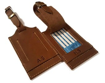 JoyToken™ Personalised Handmade Leather Travel Luggage Tag, Travel Bag Tag, Holiday Bag Tag, Leather Luggage Tag, Handmade Luggage Tag Brown
