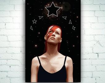Kate Moss Print Stardust Blackstar Illustration Art Print