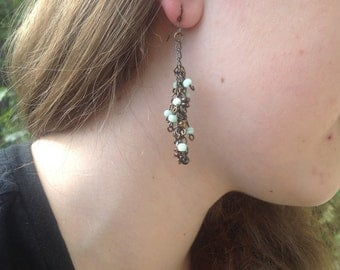 Antiqued brass cluster dangle earrings