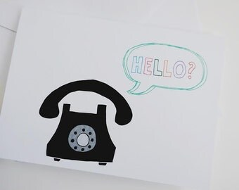 Hello vintage telephone greeting card