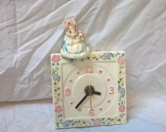 Beatrix Potter Porcelain Clock with Hunca Munca