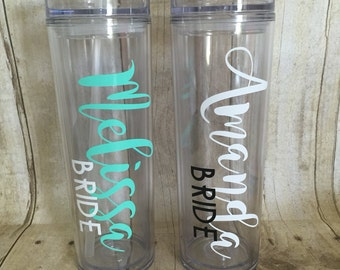 Wedding Party Water Bottles, Bride, Bridesmaid, Maid of Honor, Mother of the Bride