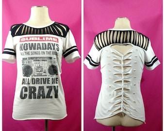 Shredded shirt - sublime band shirt - shredded band shirt - girls Sublime tshirt -  cut up band shirt - upcycled band shirt - sublime top