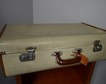 Vintage Retro Striped Suitcase Storage Prop