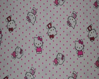 Hello Kitty Dots All Over Flannel Fabric (By The Yard)