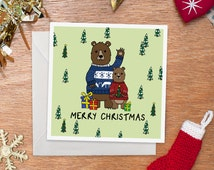 Bears in Christmas Jumpers Card | Merry Christmas | Bears in Ugly Sweaters | Handmade | Illustration | Funny Christmas Card
