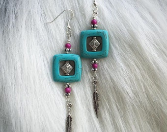 Earrings - Turquose Colored Stone , Fuschia beads and Thai Silver - Feather Charm