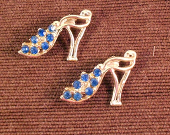 Vintage Scatter Pins High Heel Shoes with Blue Rhinestone Scatter Pins Vintage 1950's Silver Tone