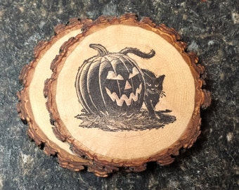 Halloween Jack-O'-Lantern and Black Cat Handcrafted Natural Wood Rustic Coaster Set  of 2