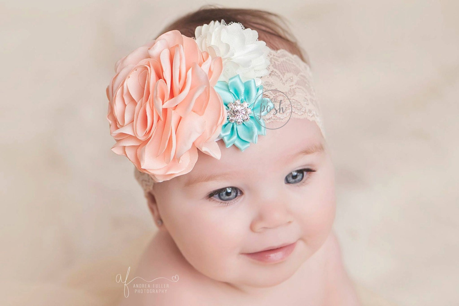 Mint Coral Headband Baby Girl Lace