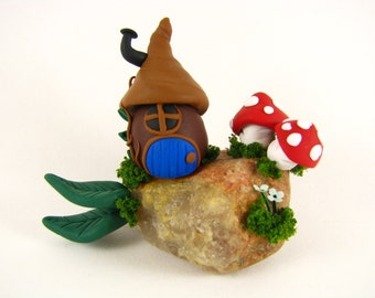 Miniature fairy house-Polymer clay gnome home-fairy home-clay fairy home-OOAK