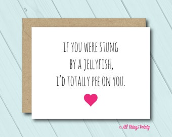 Funny Friendship Greeting Card - Folded Card and Recycled Kraft Envelope - I Would Totally Pee On You - BFF Best Friend