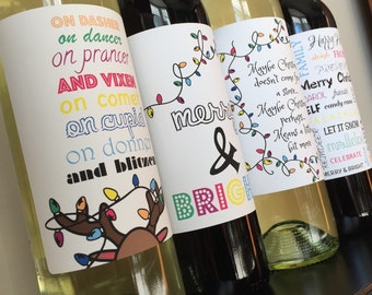 Christmas wine labels holiday wine labels christmas labels holiday labels christmas wine holiday wine holiday gifts