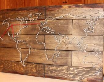 Customized World Map Nail Art /x\ World Map art /x\ Wood Map