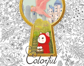Colorful Jetoy Coloring Book for adult, Cat Illustration Colouring Book, CHOO CHOO JETOY coloring book, Korea coloring book