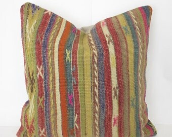 Red and Blue Striped Floor Cushion Cover 20x20 Throw Pillow Turkish Kilim Pillow Decorative Pillow Kilim Pillow Floor Cushion Accent Pillow