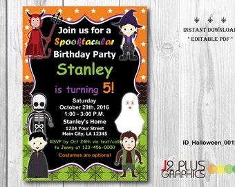 INSTANT DOWNLOAD Halloween Birthday Invitation, Halloween Invite, Halloween Invitation Instant Download, Invites Printable, DIY Editable pdf