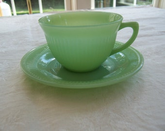 Vintage Anchor Hocking Fire King Jane Ray Jadeite Cup and Saucer - EUC