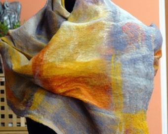 Felted scarf,shawl handmade, spring shawl.