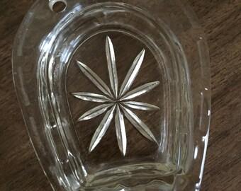 Vintage Glass Horseshoe Ashtray