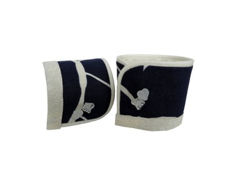 El Badry blue and off-white fabric Cuff Bracelet