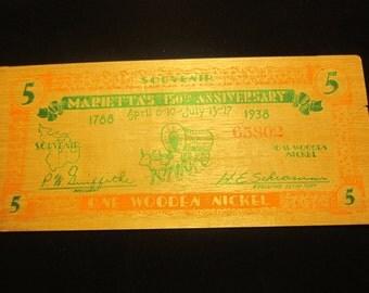 1938 Wooden Nickel Souvenr Marietta Ohio 150 Th Anniversary *Note Corner Tear
